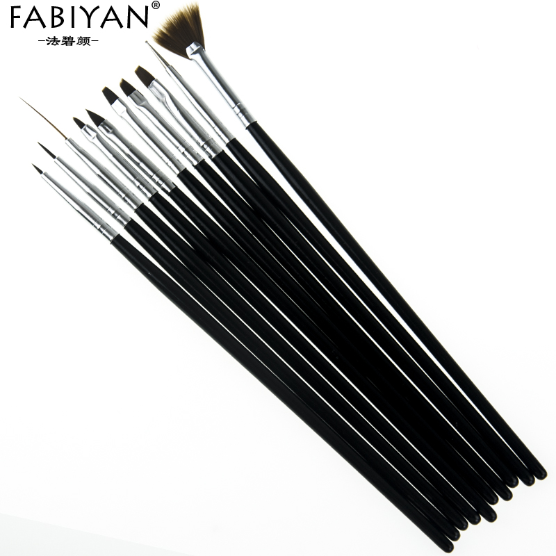 Image 4 - 10Pcs Nail Art Brush Liner Dotting Fan Design Acrylic Builder Flat Crystal Painting Drawing Carving Pen UV Gel Manicure Tool Set-in Nail Brushes from Beauty & Health