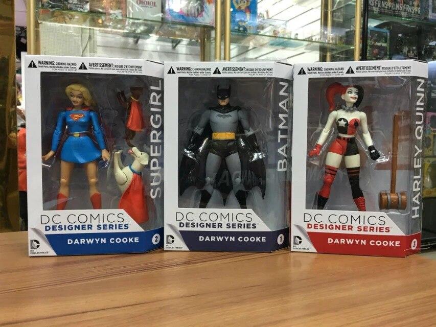 DC COMICS Designer Series Darwyn Cooke Batman Supergirl Harley Quinn PVC Action Figure Collection Model Toys 7 18cm