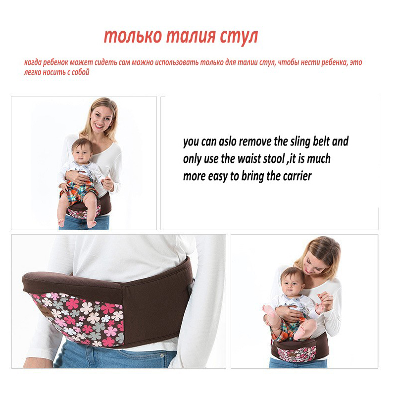 Купить с кэшбэком Floral Cotton Ergonomic Baby Carrier Adjustable Baby Sling 5 Carry Ways Multifunctional Kangaroo Baby Applicable 3 To 36 Months