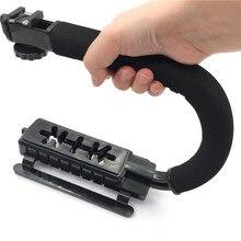 Ação de vídeo Estabilizador Aperto 3 Shoe Montagens U/C Forma Bracket Titular Alça de Mão para Canon Nikon Sony DSLR câmera Filmadora