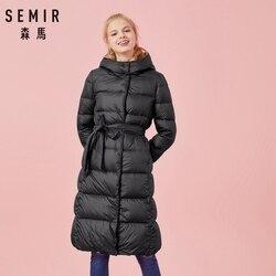 SEMIR damska zimowa modna puchowa kurtka gruby ciepły płaszcz pani bawełniana kurtka długa kurtka zimowa jaqueta z kapturem Feminina