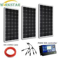 3 шт. 100 Вт Стекло ламинат солнечных панелей солнечных модулей солнечных батарей решетки 300 Вт Солнечный Системы Кир для начинающий