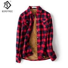 Camisa a cuadros gruesa de terciopelo para mujer, Tops de manga larga para M-XXL, lana, informal, de cuadros, Otoño, T77710A