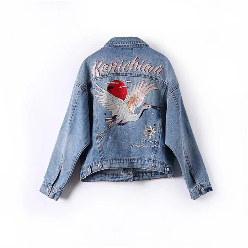 2018 Rose Embroidery Denim Jackets Women Crane Embroidered Jeans