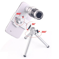 Mini Telescope Mobile Cell Phone Camera Lens With Tripod Stand Zoom 12X Wide Viewing Angles For iPhone 6 6s Galaxy S7 Universal