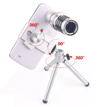 Best price Mini Telescope Mobile Cell Phone Camera Lens With Tripod Stand Zoom 12X Wide Viewing Angles For iPhone 6 6s Galaxy S7 Universal