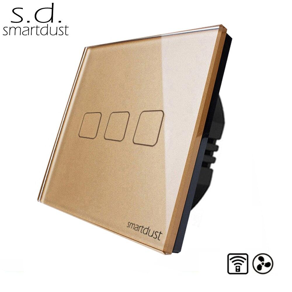 Smartdust UE Commutateur de Commande À Distance, 3 Gang Smart Switch, Fan Gradateur Panneau de Verre Interrupteur Tactile Interrupteur Avec Contrôleur