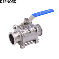 DERNORD 2 Two Way & Three Piece Full Port Sanitary Ball Valve Fits 2 Tri Clamp Clover Stainless Steel 304, PTFE Lined