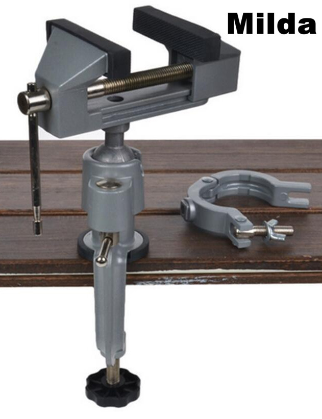 Milda 2 In 1 Multifunction Table Vise Bench Vice Aluminium Alloy 360 Degree Rotating Universal Clamp Units Vise Mini Precise