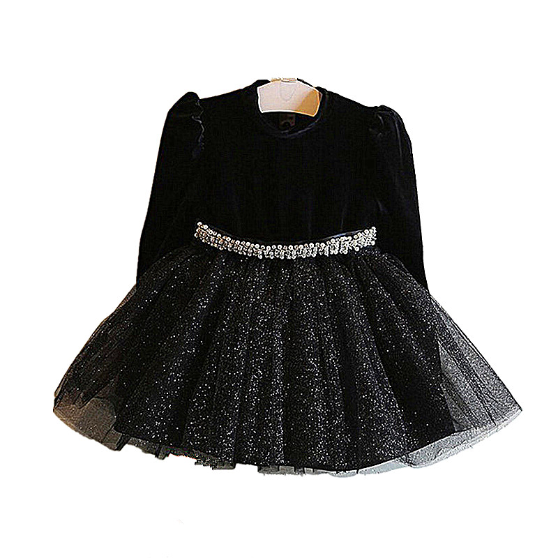 Girls Dress New Girl Party Dress Black Girls Clothes Long Sleeve Tutu Princess Dresses with Belt New Year Costumes for Kids toddler girl dresses chinese new year lace embroidery flowers long sleeve baby girl clothes a line red dress for party spring