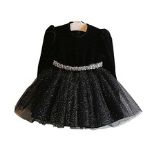 Girls Dress New Girl Party Dress Black Girls Clothes Long Sleeve Tutu Princess Dresses with Belt New Year Costumes for Kids