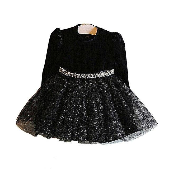 Mädchen Kleid Neue Mädchen Party Kleid Schwarz Mädchen Kleidung Langarm  Tutu Prinzessin Kleider mit Gürtel Neue 484e076077