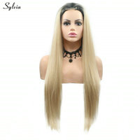 Sylvia Blonde Wig Long Synthetic Short Lace Front Wig for Women High Temperature Fiber Wig Ombre Wig Daily Wear Ladies Wigs
