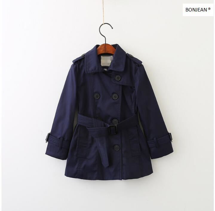 70720969 2017 Autumn Baby Boy Trench Solid Full Sleeve Double Breasted Boy Coat Boy Outerwear Kids Clothes ellen tracy outerwear women s double breasted classic trench coat