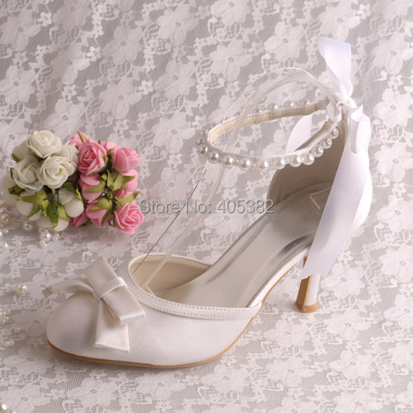 (20 Colors)Custom Handmade Ladies High Heels Lace up White Sandals Ankle Pearl Strap
