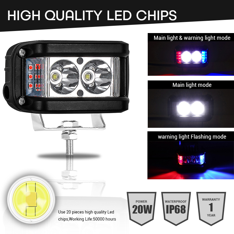 Image 2 - Work Light 20W Led Bar Side Flash Strobe Driving Fog Light for Offroad Truck Tractor SUV ATV Boat 4x4 Accessories rampe led Beam-in Light Bar/Work Light from Automobiles & Motorcycles