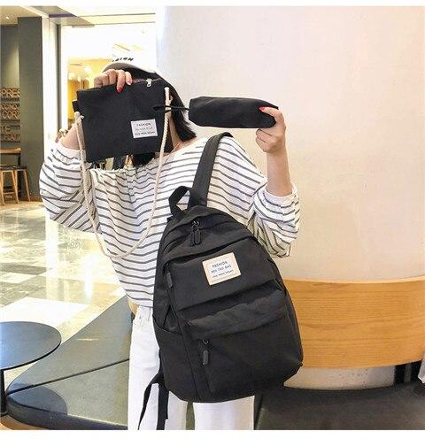 HTB1q V4XKL2gK0jSZPhq6yhvXXaj Nylon Backpack Women Backpack Solid Color Travel Bag Large Shoulder Bag For Teenage Girl Student School Bag Bagpack Rucksack