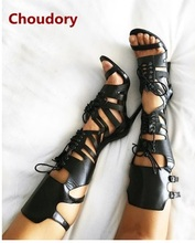 2017 Newest Choudory Gladiator Sandals Open Toe Cross Tied Women Pumps Thin High Heels Summer Boots Buckle Knee High Shoes Woman