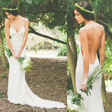 2014 V-neck Spaghetti Strap Lace Mermaid Wedding Dresses Backless Bridal Gowns