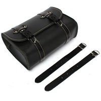 Universal Moto Saddle Pouch Bag Storage Tool In Leather For Harley Davidson Black