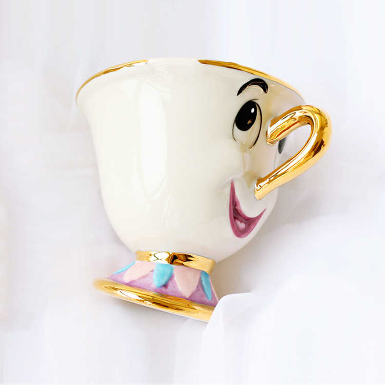 Hot Koop Beauty en het Beest Mrs Potts' zoon: Chip Cup Thee Set Koffie Cartoon Mok voor vriend Minnaar Gift