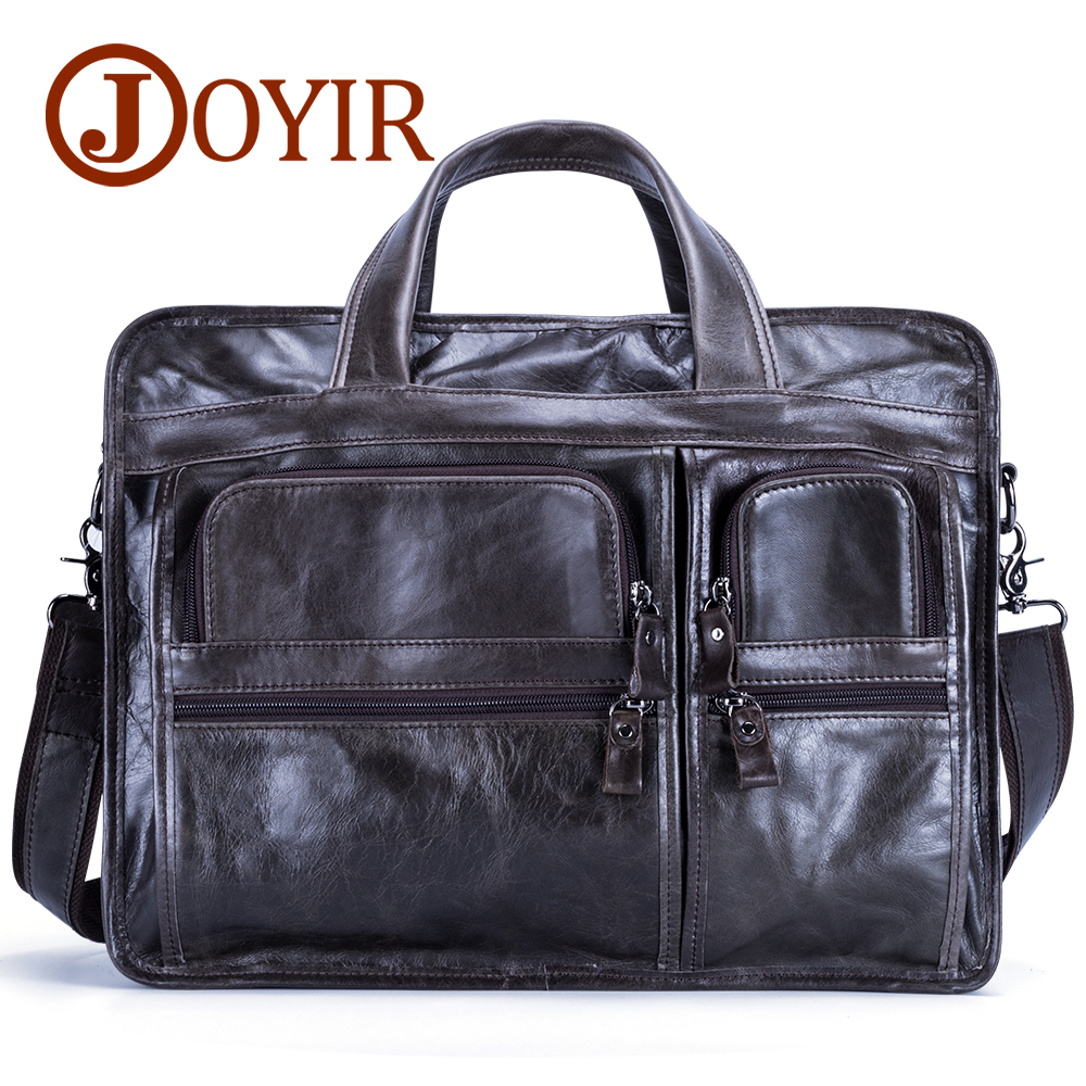 JOYIR Men Briefcases Leather Bag Genuine Leather Office Handbag Male Laptop Bag Men's Business Messenger Shoulder Portfolio Bag