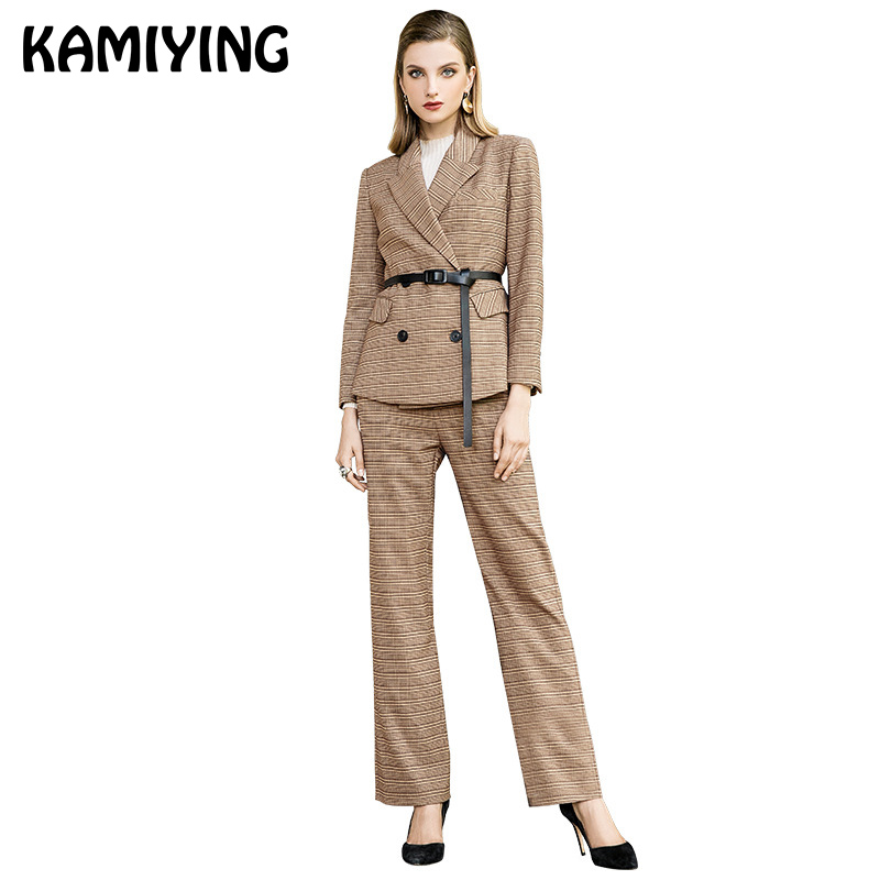 KAMIYING New Autumn Fashion Leisure Lattice Lacing Suit Slim Fit Office Lady Two-Piece Set Pant Suits Tailleur Femme PKHC666