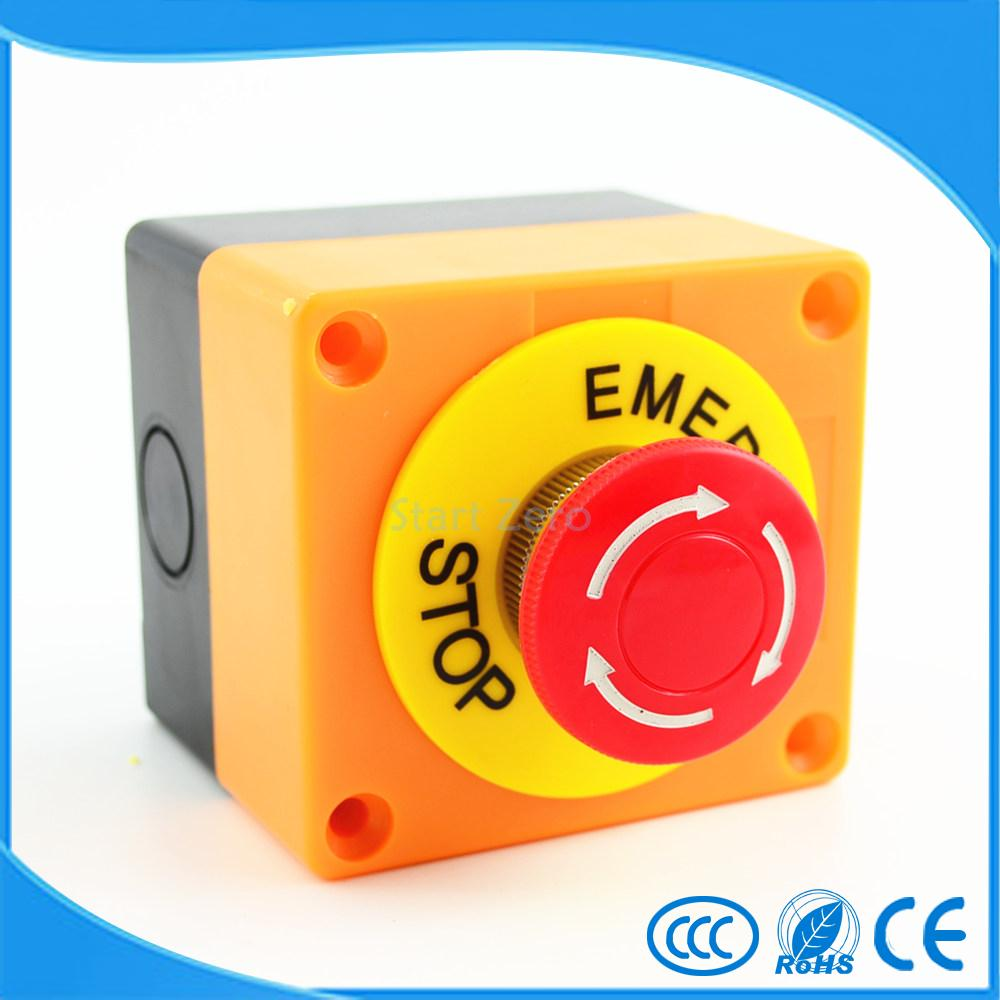 Red Sign Emergency Stop Mushroom Push Button Switch NO+NC AC660V/10A ac 600v 10a normal close plastic shell red sign emergency stop mushroom knob switch 22mm elevator emergency stop switch