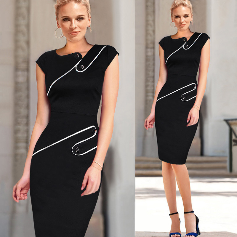 Womens Cocktail Casual Party Dress Front Button Elegant Summer Cap Sleeve Knee Length Formal Work Office