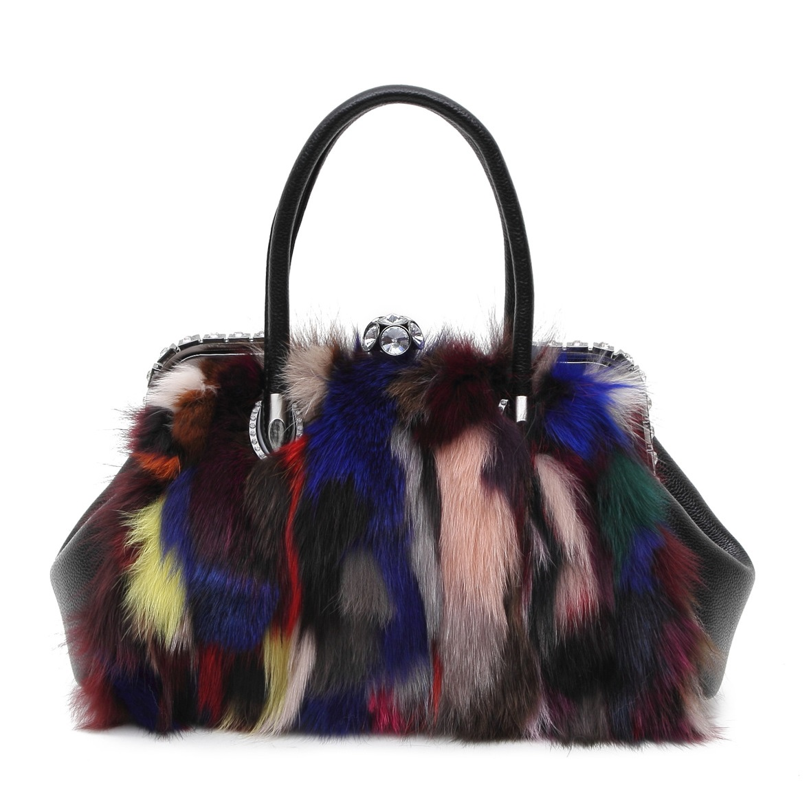 1086 new Winter FOX FUR WOOL Mink Fur clip Plush Bag Shoulder Bag Laptop Messenger Bag 2017 winter new clothes to overcome the coat of women in the long reed rabbit hair fur fur coat fox raccoon fur collar