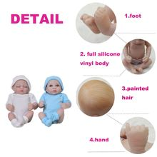 Lovely 11 Inch Lifelike Tiny Baby Doll Full Silicone Vinyl bebe Reborn Twins A Sleeping Girl And An Awake Boy Kids Playmate Gift