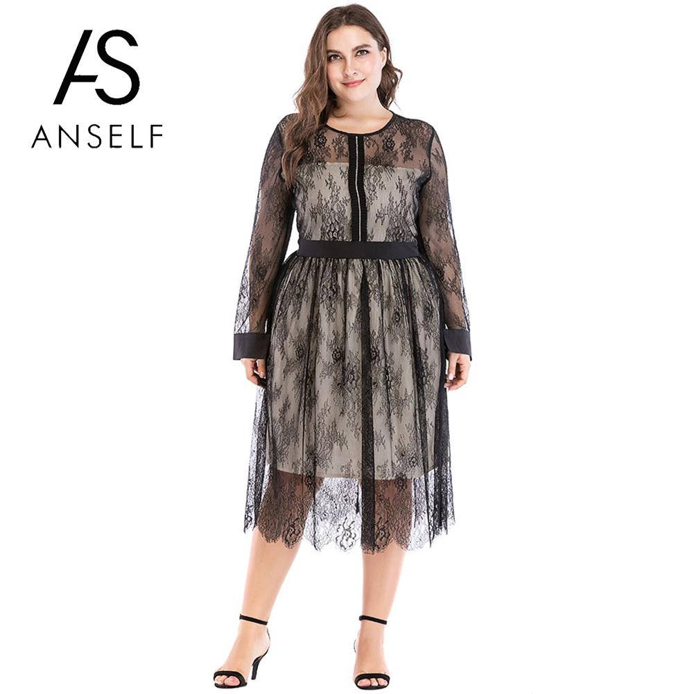 US $21.65 43% OFF|Anself Women Plus Size Dress Sheer Mesh Floral Lace  Rhinestone Long Sleeve Summer Dress 2019 Elegant Evening Partywear Black-in  ...