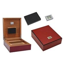 Цифровой хьюмидор офиса и дома твердой древесины портсигар несколько лаком сигары влаги поле влажность регулируется под сигар