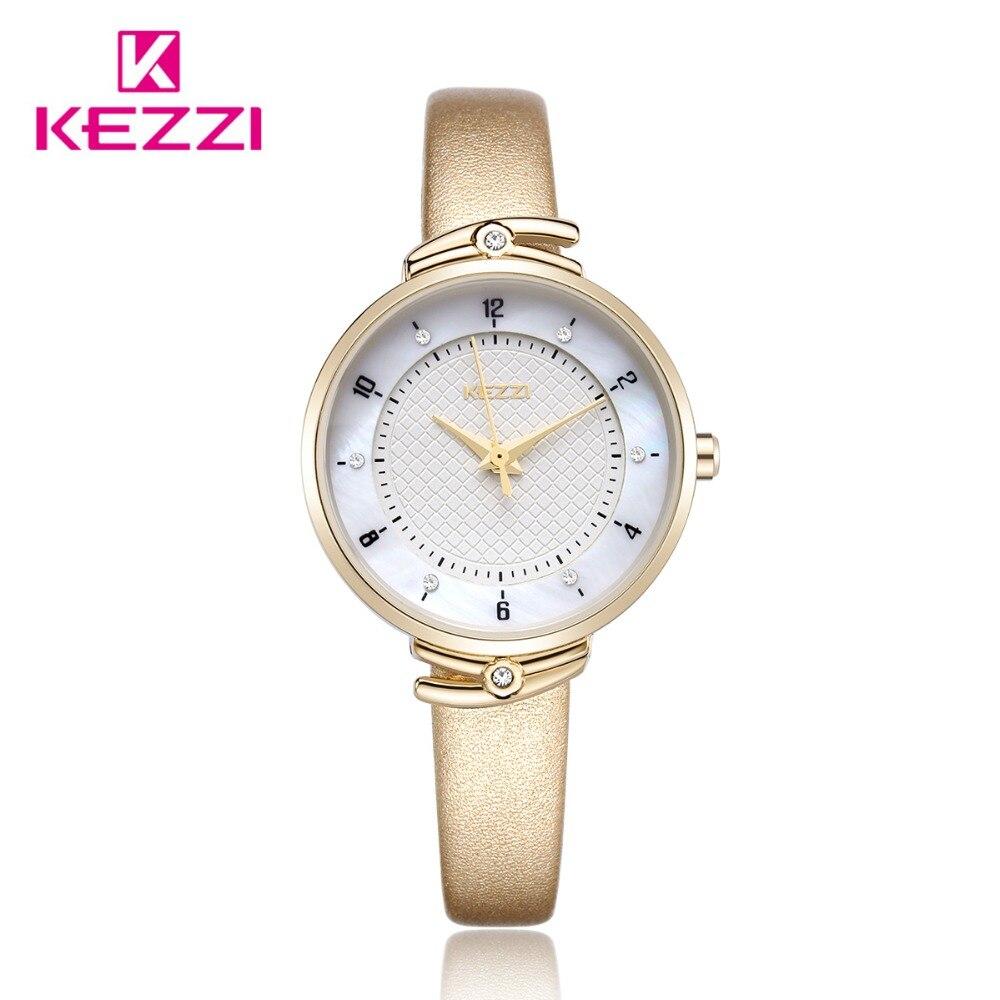 Kezzi Luxury Women Watch Ladies Casual Leather Watch Wristwatch Waterproof Quartz Watch Reloj Mujer Montre Femme Наручные часы