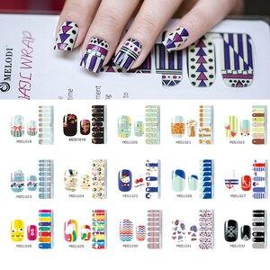 1 Blatt/лот 15 выберите Обертывания для ногтей в черно-белую полоску, цветочный рисунок, стикер на полную длину для ногтей, японский маникюр