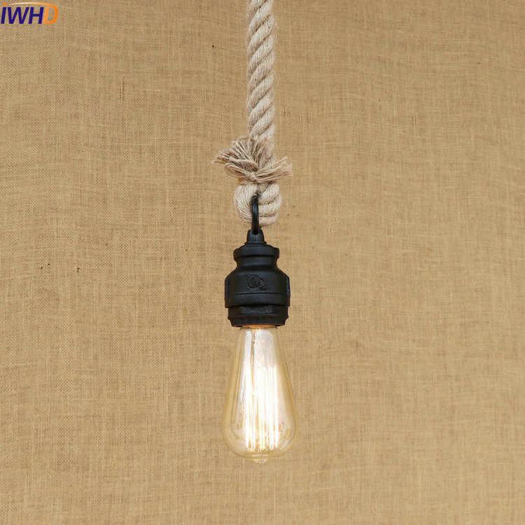 Iwhd Американский Стиль Лофт Промышленные кулон Освещение светильники столовая под старину водопровод веревка лампа Винтаж Lampara Colgante