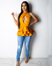 Sensual adogirl halter neck ruffles chiffon tops bust cut-out peplum solid slim female blouse backless petal layer shirts