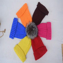 2016 Fashion Women Winter Fox Fur Hats 100% Real Fur pompom Beanies Cap Natural Fur Hat For Female