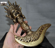 Рождество Старый Тибет Бронзовый Ваджра, Дордже Phurpa Vajrakilaya топор талисман деревянный ящик Набор Хэллоуин