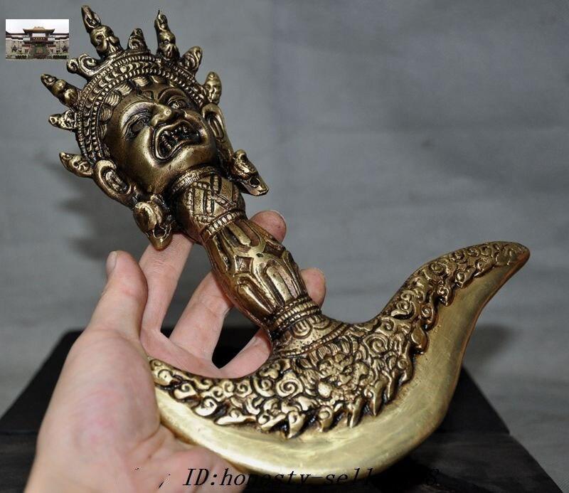 De noël Vieux Tibet Bronze Vajra Dorje Phurpa Vajrakilaya Ax Hache Talisman Bois coffret Halloween