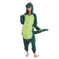 Ensnovo Cartoon Animal Pajamas Green Dinosaur For Adults Unisex Cosplay Hood Onesies Polar Fleece Cartoon Cute