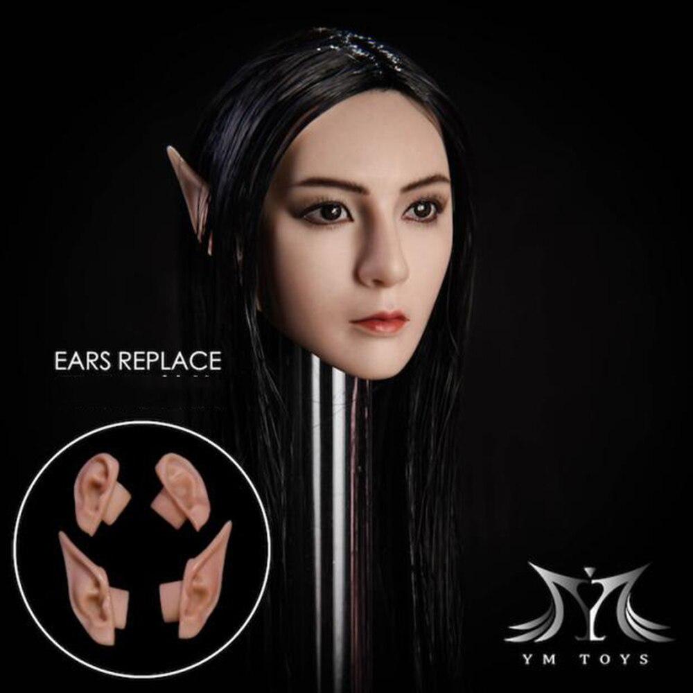 1//6th YMtoys YMT09A Elf Female Head Model W Detachable Ears F Pale Skin Body