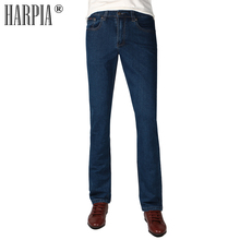 HARPIA Mens Jeans Pants Men Casual Denim Trousers Man Classic Cowboy Long Pants Male Blue elastic Straight Jeans Autumn Winter