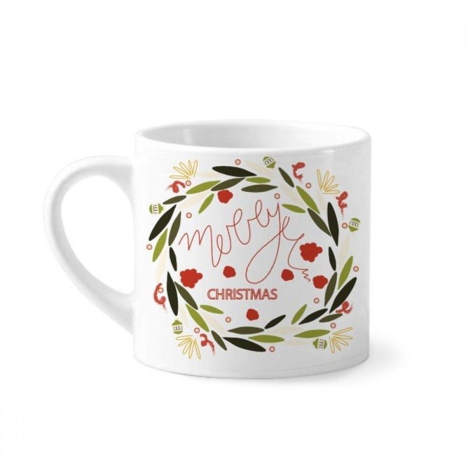 Christmas Colorful Garland Leaf Illustration Mini Coffee Mug White Pottery Ceramic Cup With Handle 6oz Gift Mugs Aliexpress