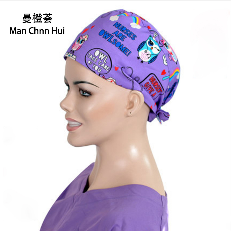 Dental Surgical Cap 100% Cotton Doctor Nurse Hat European And American Printing Gourd Hat Medical Accessories 2019 Autumn New