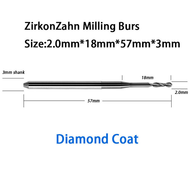 ZirkonZahn 57mm Length 3mm Shank Milling Tools Burs Diamond Coat for Zirconia, Wax, PMMA Trimming