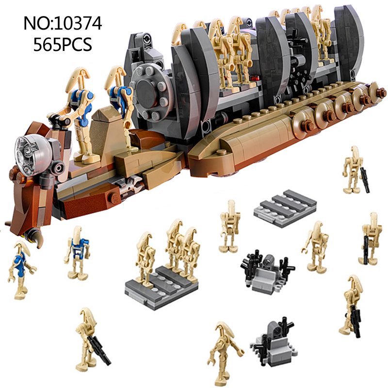 10374 NEW Star wars Battle Droid Troop Carrier model Building Blocks Toys compatible gift kid star wars boys bricks set 678pcs diy star wars resistance troop transporter model building blocks compatible with starwars legoingly bricks toys kids gift