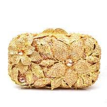 New Filigree bright high quality luxury silver diamond crystal clutch evening bag ladies handbag mini purse gold wallet 88413