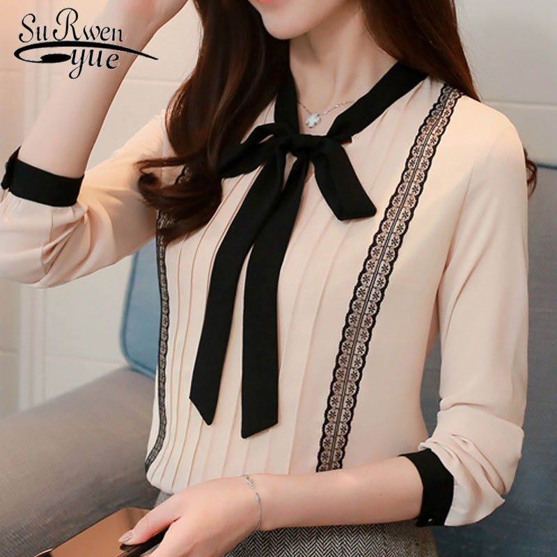 2019 chiffon long sleeve   blouse     shirts   sweet lace patchwork women clothing bow tie fashion female tops   shirt   blusas 0473 30