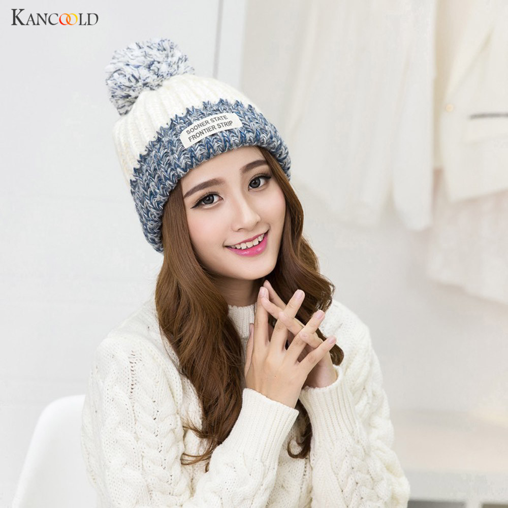 47a4aa69f15 Hot Fashion mink pom poms wool rabbit fur Letter knitted hat Skullies  winter hat for women